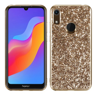 Glittering Sequins Electroplating TPU PC Hybrid Phone Casing for Huawei Y6 Pro (2019) - Gold