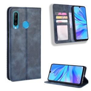 Vintage Style Leather Wallet Case for Huawei Honor 20 Lite - Blue