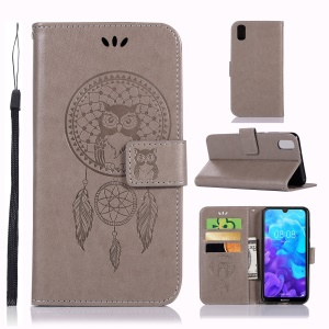 Imprint Dream Catcher Owl Leather Wallet Stand Cover for Huawei Y5 (2019) / Honor 8S - Grey