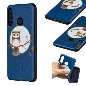 Embossment Patterned TPU Case Accessory for Huawei P30 Lite / nova 4e - Owl Moon Stars