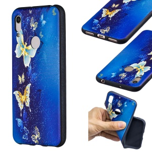 Embossment Patterned TPU Case Accessory for Huawei Y6 (2019, with Fingerprint Sensor) / Y6 Prime (2019) / Honor 8A - Blue Butterfly
