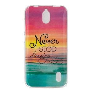 IMD TPU Gel Cover for Huawei Y625 - Quote Never Stop Dreaming