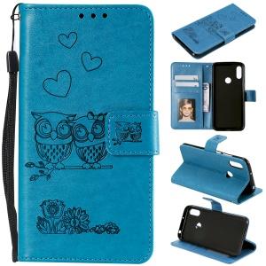 Imprint Two Beloved Owls Magnetic Wallet PU Leather Stand Case for Huawei Y6 (2019, with Fingerprint Sensor) / Y6 Prime (2019) / Honor 8A - Blue