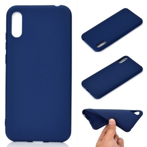 Solid Color Matte TPU Soft Mobile Phone Cover for Huawei Y6 Pro (2019) - Dark Blue