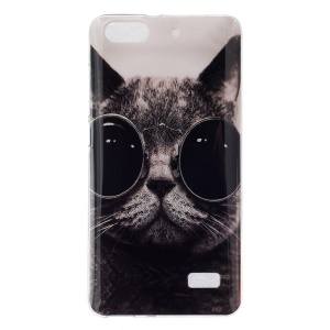 IMD Soft TPU Gel Case for Huawei Honor 4C - Cat Wearing Sunglasses