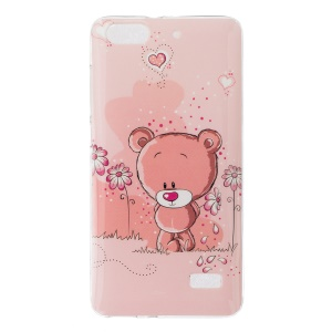 IMD Soft TPU Gel Cover for Huawei Honor 4C - Bear and Flowers