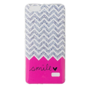 IMD Soft TPU Skin Cover for Huawei Honor 4C - Chevron Stripe and Smile
