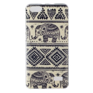 IMD Soft Phone Cover for Huawei Honor 4C - Tribal Elephants