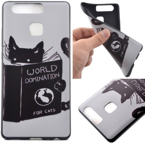 Flexible TPU Phone Case for Huawei P9 - World Domination for Cats