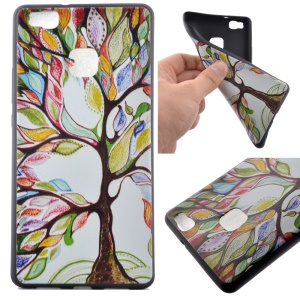 Soft TPU Cover Shell for Huawei P9 Lite - Colorful Tree