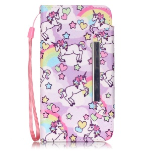 Patterned PU Leather Wallet Cover for Huawei Honor 4A / Y6 - Cute Unicorns