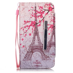 Patterned PU Leather Wallet Shell for Huawei Honor 4A / Y6 - Plum Blossom & Eiffel Tower