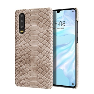 Snake Pattern PU Leather Coated PC Hard Case for Huawei P30 - Light Grey