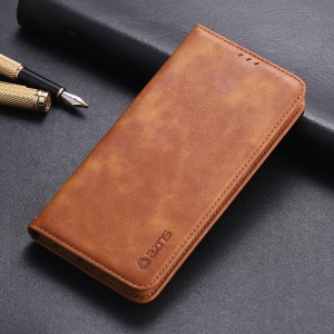 AZNS Retro Style PU Leather Mobile Case for Huawei P30 - Brown