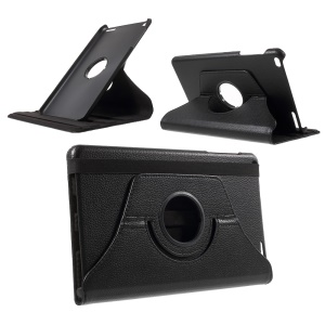 Litchi Grain Rotary Stand Case for Huawei MediaPad T1 10 - Black
