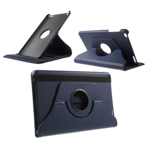 Litchi Grain Rotary Stand Case for Huawei MediaPad T1 10 - Dark Blue