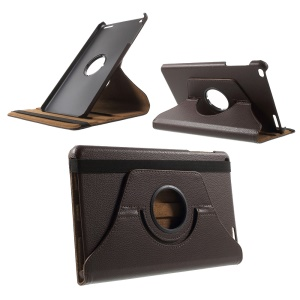 Litchi Grain Rotary Stand Case for Huawei MediaPad T1 10 - Coffee