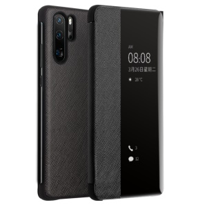 QIALINO View Window Cowhide Leather Smart Case for Huawei P30 Pro - Black