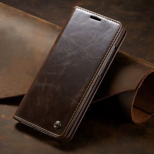 CASEME 003 Series Oil Wax PU Leather Cover Business Flip Case for Huawei P30 Pro - Coffee