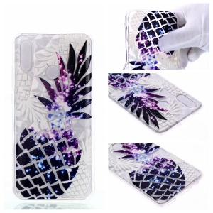 Embossed Pattern 3D Diamond Texture Soft TPU Back Case for Huawei P10 Lite / P Smart (2019) / Nova Lite 3 (Japan) - Pineapple