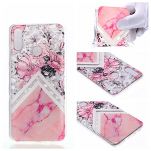 Embossed Pattern 3D Diamond Texture Soft TPU Back Case for Huawei P10 Lite / P Smart (2019) / Nova Lite 3 (Japan) - Marble Pattern and Flowers