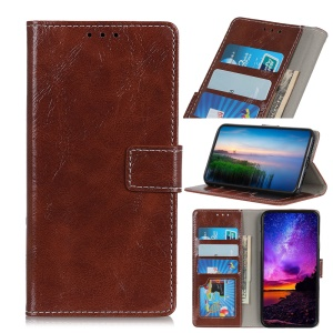Crazy Horse Leather Wallet Case for Huawei Honor 20 Lite - Brown