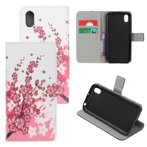 Pattern Printing PU Leather Stand Phone Cover for Huawei Y5 (2019) / Honor 8S - Peach Blossom