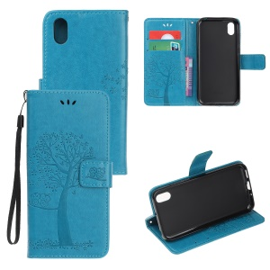 Imprint Tree Owl Leather Wallet Case for Huawei Y5 (2019) / Honor 8S - Blue