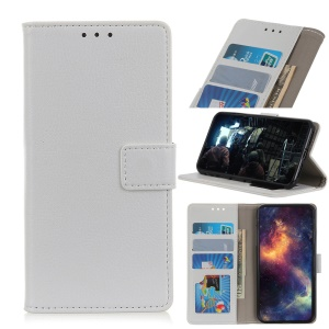 Litchi Skin Wallet Leather Stand Case for Huawei Honor 9X (Global)/ P Smart Z / Y9 Prime 2019 /Enjoy 10 Plus - White