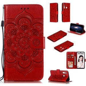 Imprint Mandala Flower Stand Wallet Leather Case for Huawei P Smart Plus 2019/Enjoy 9s/ Maimang 8/Honor 10i/Honor 20i/Honor 20 Lite/nova 4 Lite - Red