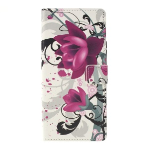 Pattern Printing Leather Wallet Stand Case for Huawei P Smart Z - Purple Flowers