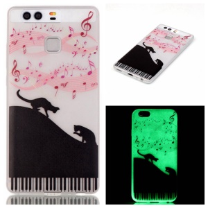 Luminous TPU Protective Case for Huawei P9 - Cat and Music