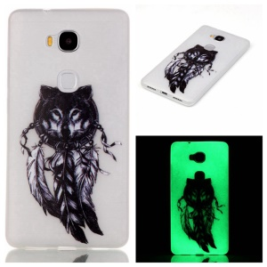 Luminous TPU Phone Shell for Huawei Honor 5X/Honor Play 5X - Wolf and Dream Catcher