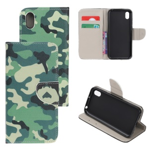 Pattern Printing Cross Texture Leather Wallet Case for Huawei Y5 (2019) - Camouflage Pattern