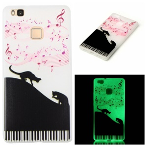 Noctilucent Soft TPU Case for Huawei P9 Lite - Music Note and Cats