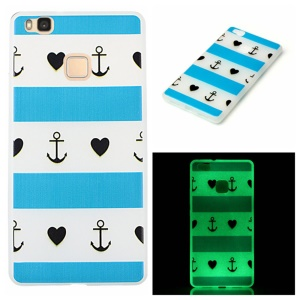 Noctilucent Soft TPU Case for Huawei P9 Lite - Anchor and Stripes