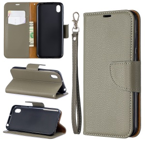 Litchi Skin Leather Wallet Case for Huawei Y5 (2019) / Honor 8S - Grey