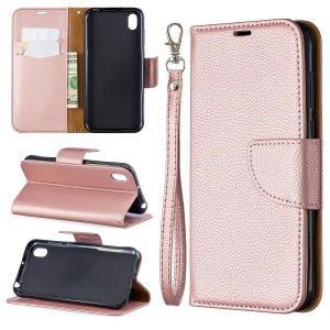Litchi Skin Leather Wallet Case for Huawei Y5 (2019) / Honor 8S - Rose Gold