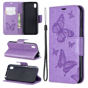 Imprint Butterfly Leather Wallet Case for Huawei Y5 (2019) / Honor 8S - Purple