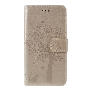 Imprint Cat and Tree Pattern PU Leather Wallet Stand Cover Case for Huawei Y5 (2019) / Honor 8S - Gold