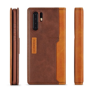 LC.IMEEKE LC-001 Series Leather Card Holder Phone Case for Huawei P30 Pro - Brown