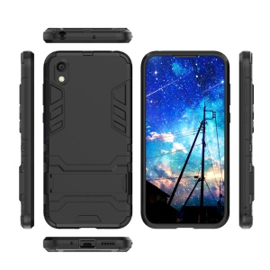 Plastic + TPU Hybrid Case with Kickstand for Huawei Honor 8S - Black
