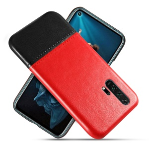 KSQ PU Leather Coated TPU Dual-color Phone Cover for Huawei Honor 20 Pro - Red / Black