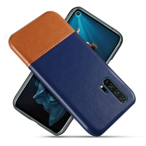 KSQ PU Leather Coated+PC Dual-color Phone Cover for Huawei Honor 20 Pro - Dark Blue / Orange