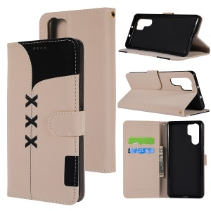 Embroidery Design Filp Leather Wallet Phone Cover Case for Huawei P30 Pro - Khaki