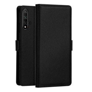 DZGOGO Milo Series PU Leather Wallet Stand Phone Case for Huawei Honor 20/Honor 20S - Black