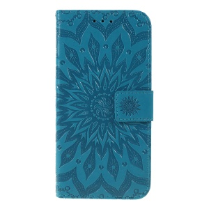 Imprint Sunflower Pattern Flip Leather Wallet Stand Phone Shell for Huawei P Smart (2019)/Smart Plus 2019/Honor 10i - Blue