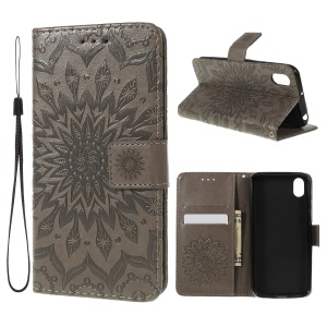 Imprint Sunflower Wallet Leather Stand Case for Huawei Honor 8S / Y5 (2019) - Grey