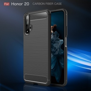 Drop Resistant Carbon Fiber Texture Brushed TPU Phone Shell for Huawei Honor 20/Honor 20s - Black