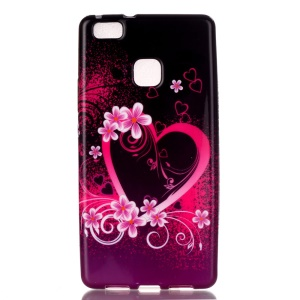 Patterned TPU Skin Shell for Huawei P9 Lite / G9 Lite - Heart and Flowers